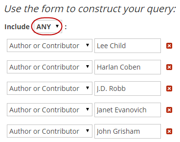 A sample search shows several authors added to search boxes: Lee Child, Harlan Coben, JD Robb, Janet Evanovich, John Grisham.