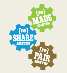 Shop Zero Waste graphic with three gears, labeled: [re]Made Austin, [re]Share Austin, and [re]Pair Austin.