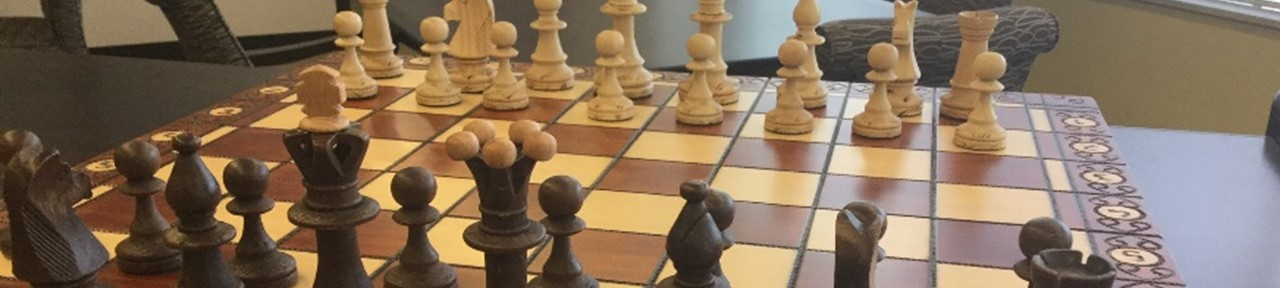 Image photograph of a chess board in the library
