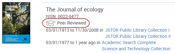 The Journal of Ecology is show. It is labeled Peer Reviewed.