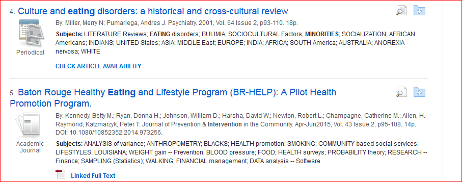 search results from the SocINDEX search are displayed. The first is: Culture and Eating Disorders: A Historical and Cross-Cultural Review.