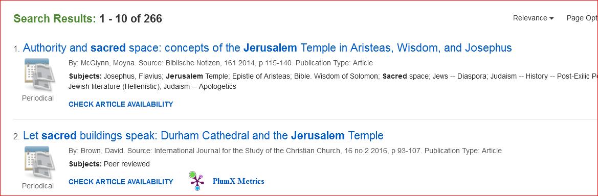 Databases - Jerusalem: History and Imagination - Oakland