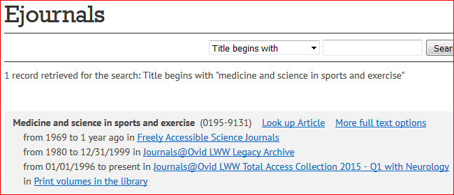the results page from the ejournals search. The results indicate that Medicine and Science in Sports and Exercise is held by the Pitt libraries both in print and online for different years. The online versions of the journal contain links to the actual journal issues and there is a link to the PITTCat record for the print volumes.