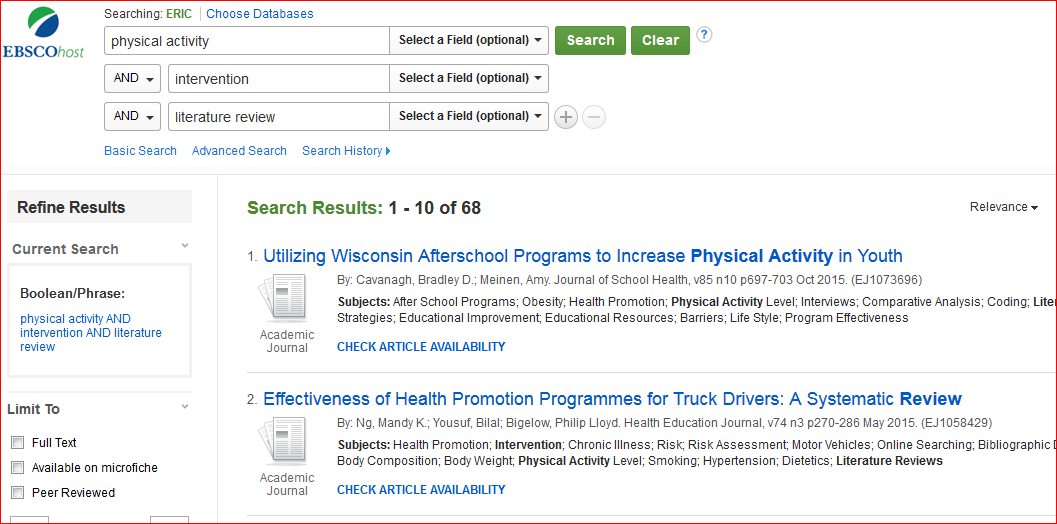a sample ERIC database search. In the Advanced Search mode, the terms Physical Activity are in the first search box, followed by the term Intervention in the second box, and Literature Review in the third box. Below that image are some of the search results. The first one is: Utliizing Wisconsin Afterschool Programs to Increase Physical Activity in Youth.
