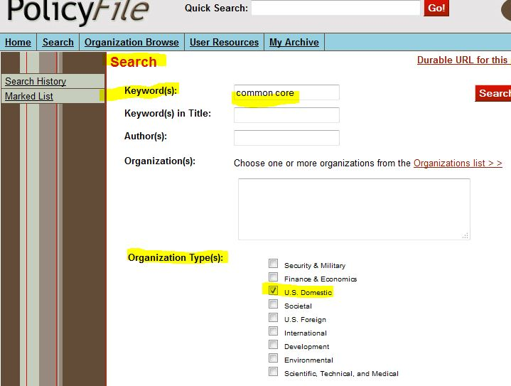 A sample PolicyFile database search. The keyword is Common Core, and the search is restricted to the Organization Type, U.S. domestic.