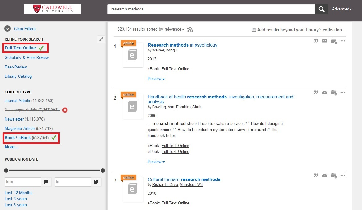 screenshot of Summon search with full text and books selected