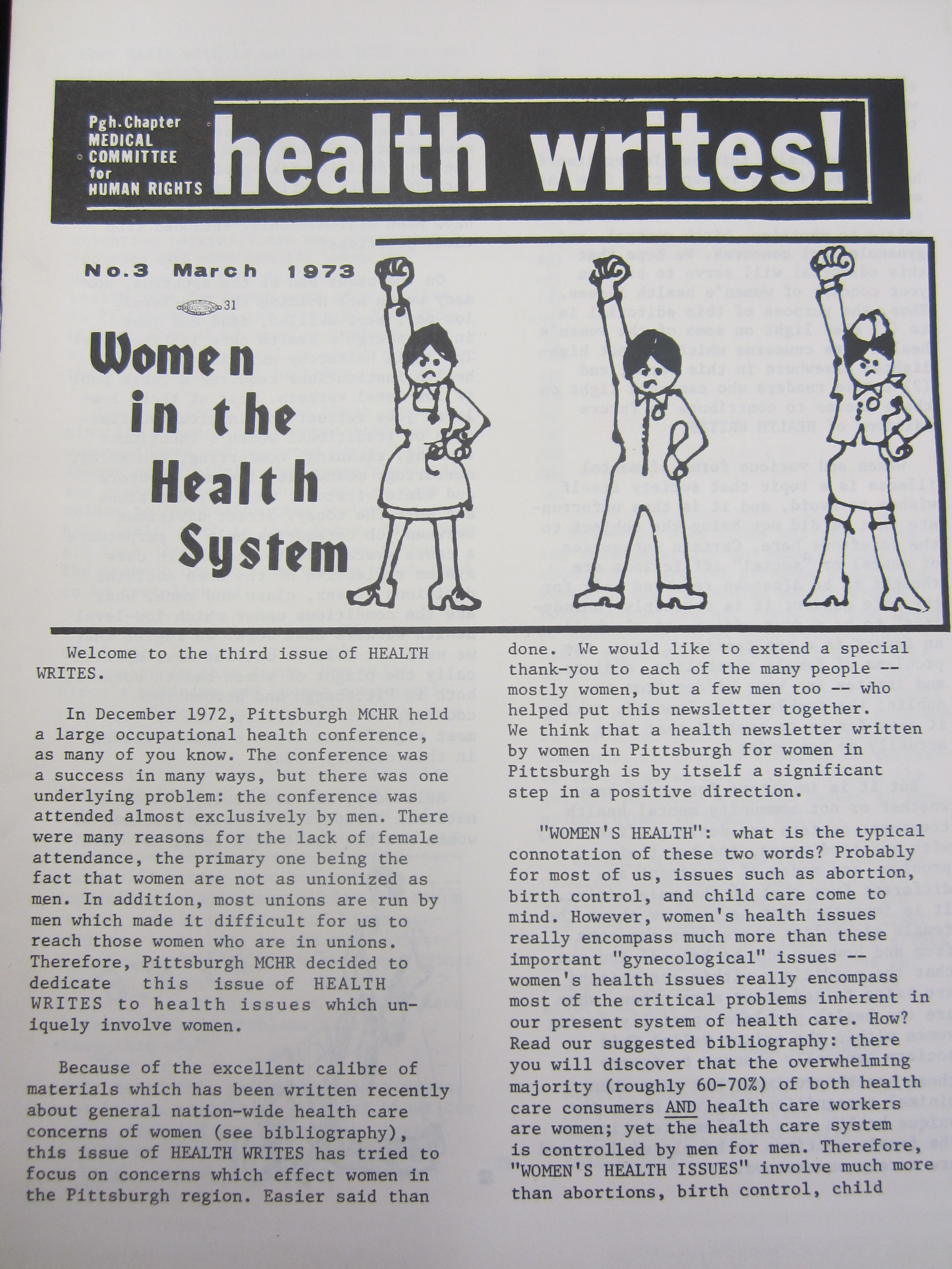 Cover of Issue 3 of Health Writes