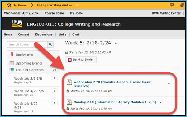 Modules from the Information Literacy Tutorial embedded as course content in D2L.