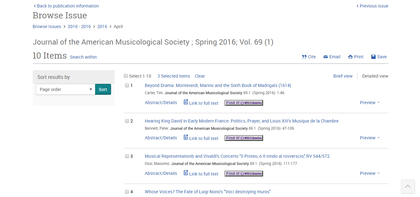Music Periodicals Database (ProQuest) - Using Library