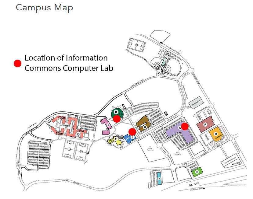 Georgia Gwinnett College Campus Map.Home Information Commons At The Daniel J Kaufman Library