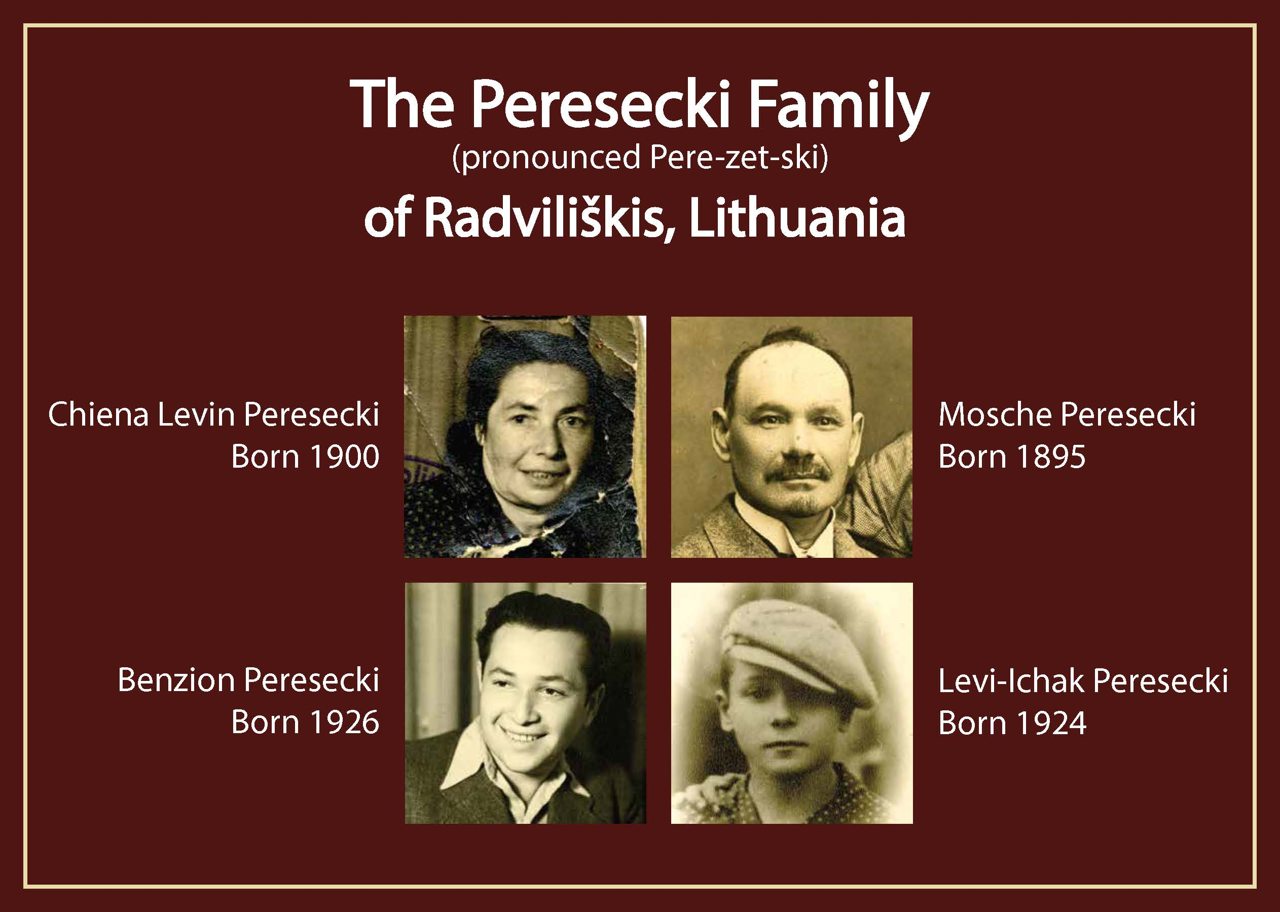 The Peresecki Family tree, including Ben, his mother Chiena, his father Mosche, and his brother Levi-Ichak