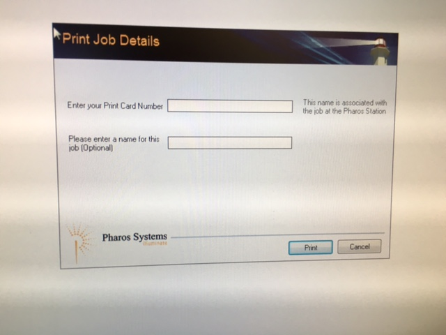 Dialog box from print system on computer screen