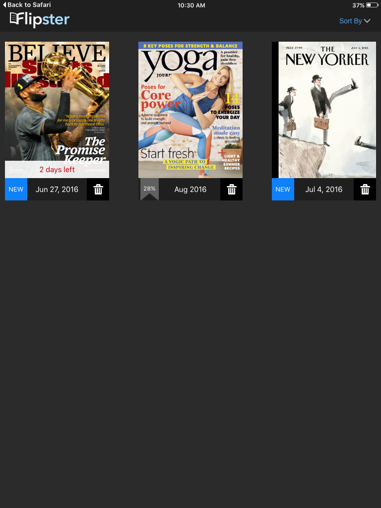 Flipster app screen with magazines downloaded.
