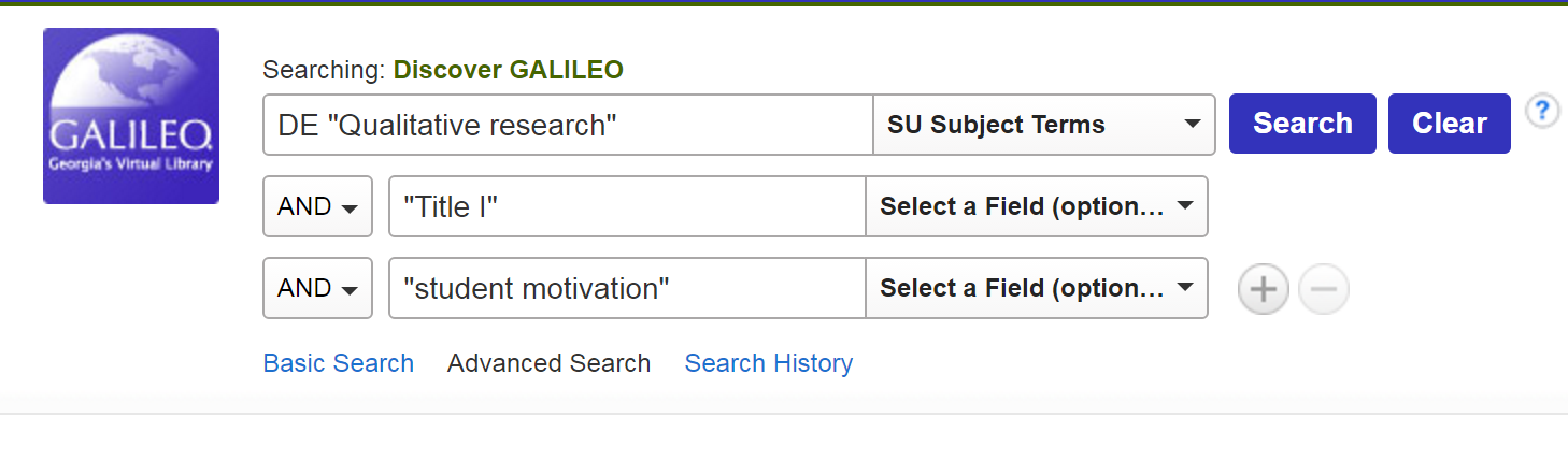 """Search in Discover GALILEO DE """"Qualitative research"""" has been entered in the first search box. In the second search box 'Title I"""" and in the last search box """" student motivation"""""""