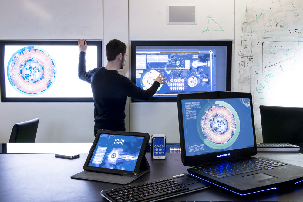 Visualisatins of Big Data in the ICE room at Merchiston..Photographed for the 'Case For Support' fund raising brochure.