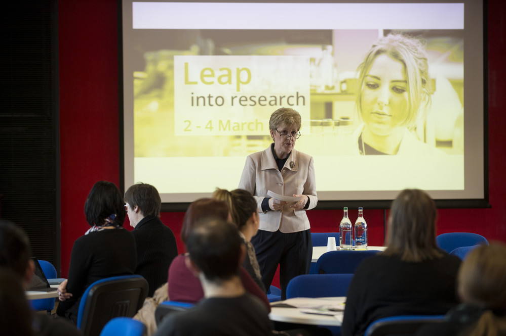 Leap Into Research Event organised by the Library and Research Innovation Office and opened by Principal Andrea Nolan.