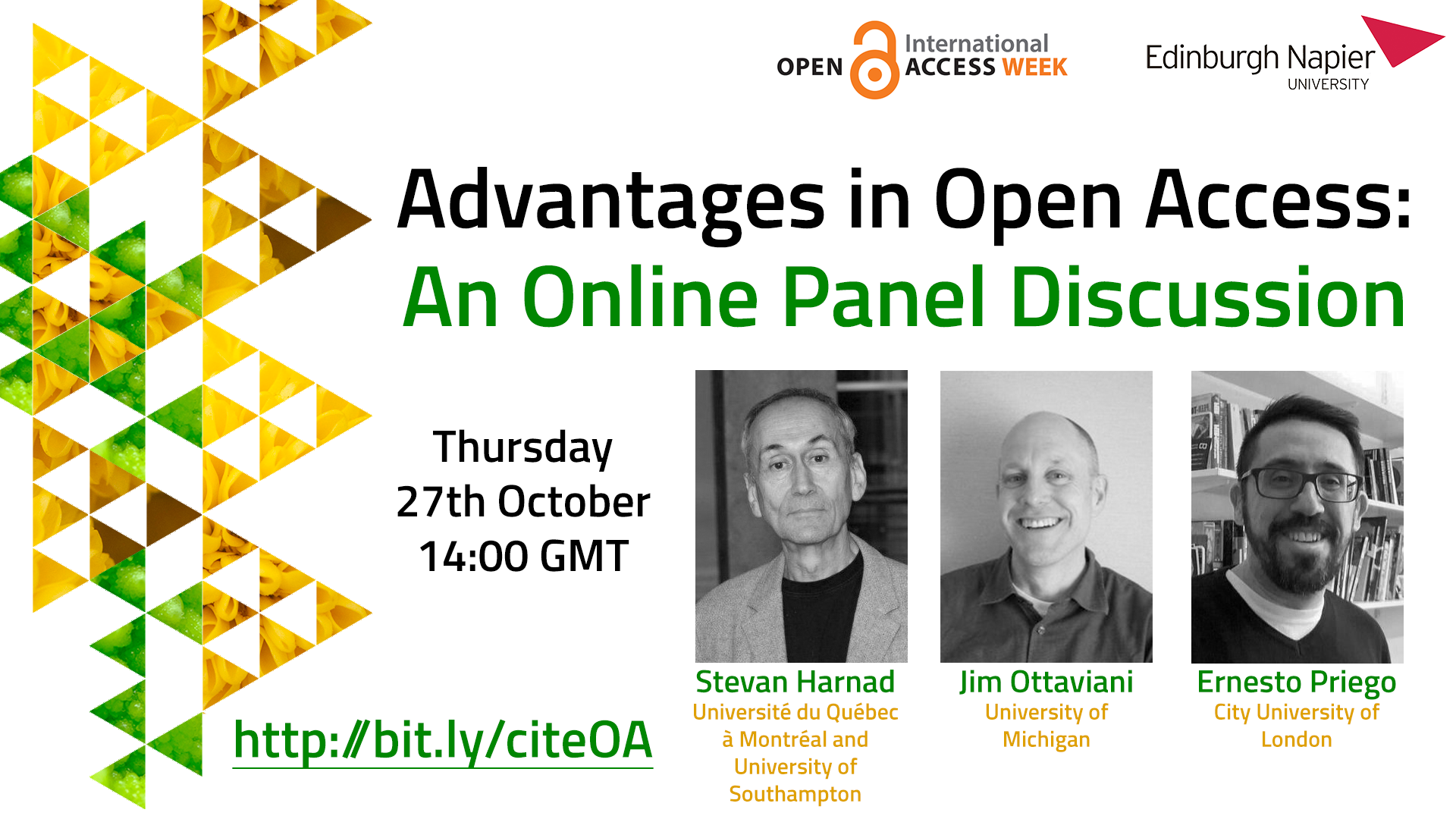 Poster for the online panel discussion 'Advantages in Open Access'