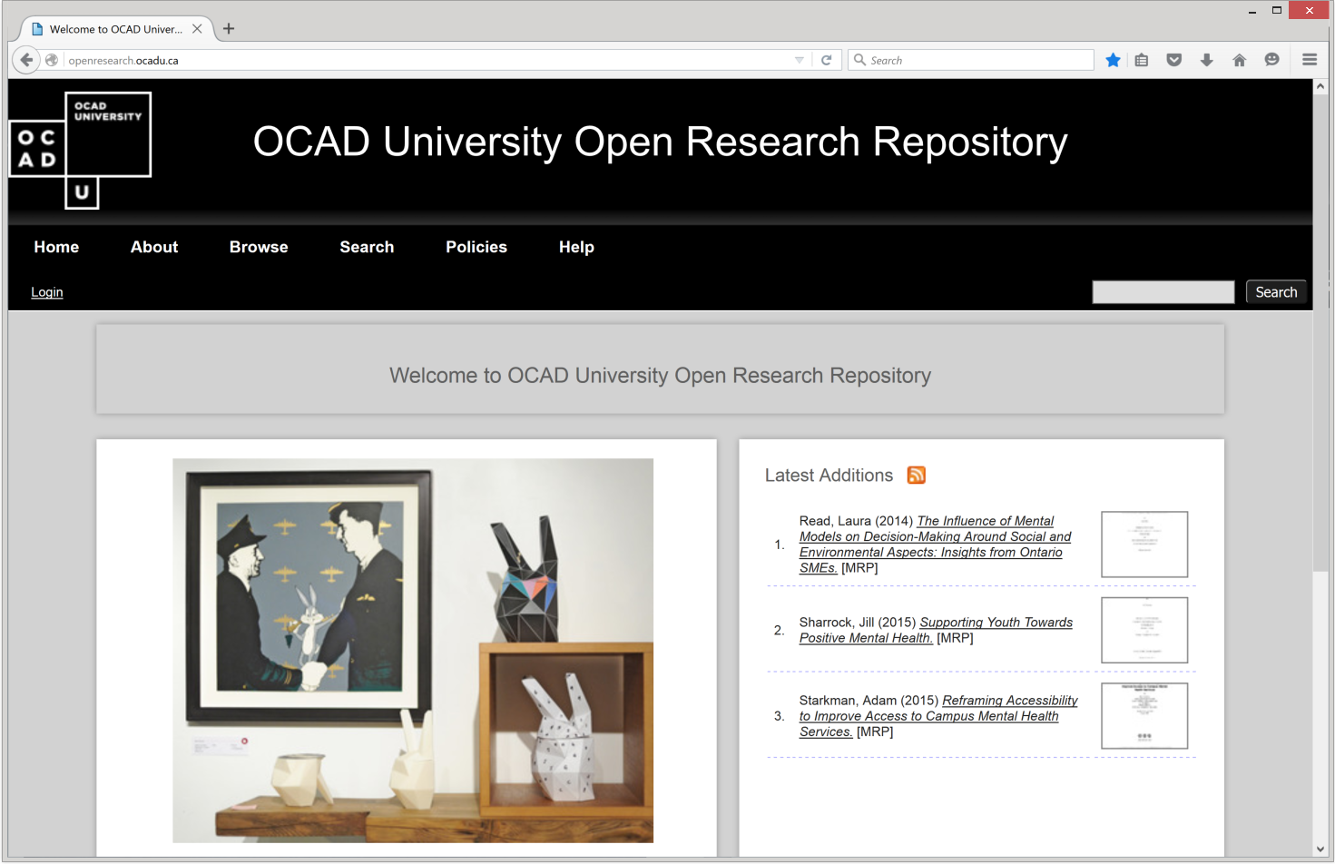 Open Research repository  main page.