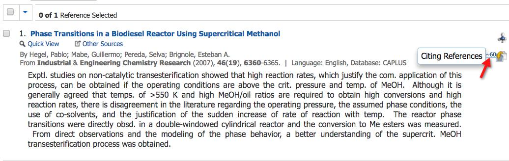 "A screenshot of a Chemical Abstracts record with the position of a ""Citing"" link to the right of the article title indicated by an arrow."