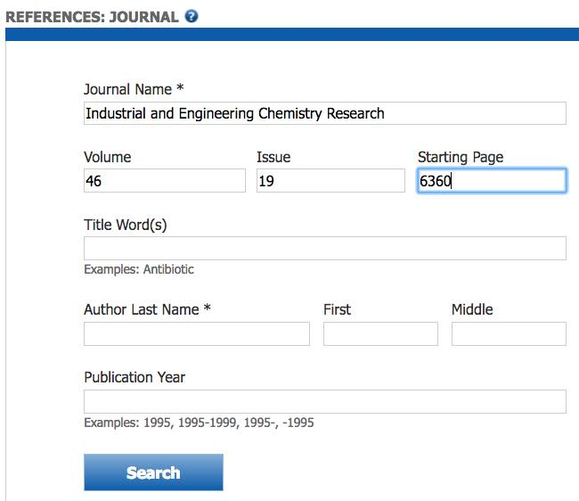 "Screenshot of the SciFinder Journal search page with ""Journal Name"", ""volume"", ""issue"", and ""start page"" fields completed."