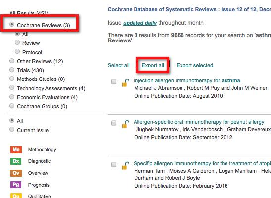 "A screenshot of a Cochrane Library results page.  A box highlights the fact that the radiobutton next to ""Cochrane reviews"" is filled in indicating that we're looking at results from the ""Cochrane Reviews"" database. The location of the ""Export all"" link above the result list is also highlighted."