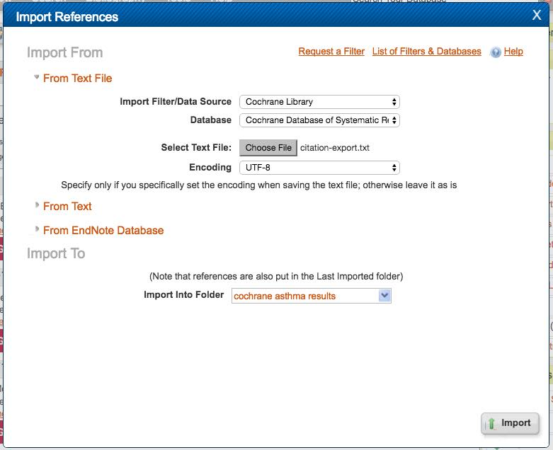 "Screenshot of the ""Import References"" box showing appropriate selections for importing records from the ""Cochrane Reviews"" database."