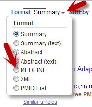 "A screenshot shows the ""Format"" drop-down.  An arrow points to the downward facing menu arrow adjacent to ""Sumamry"" (the default format).  A second arrow point to the radiobutton next to the ""MEDLINE"" option."