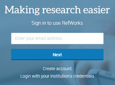 A screenshot of the login screen for the new version of RefWorks