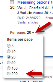 "A screenshot shows the ""Per page"" drop-down below the 20th PubMed result."