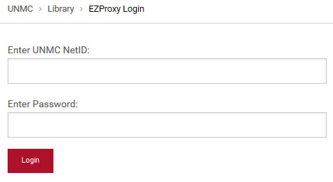 "A screenshot of the library's proxy login page.  Above the login boxes the path UNMC > Library > EZProxy Login"" appears.  Above the first login box the text ""Enter UNMC Net ID:"" appears."