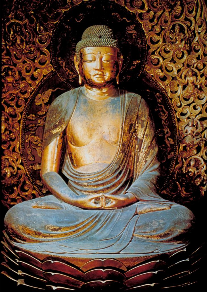 Amida Nyorai: detail of Buddha image seated on lotus