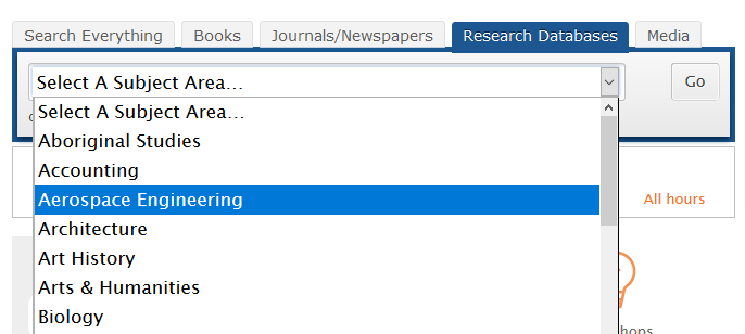 pull down menu for research database tab pick you subject area
