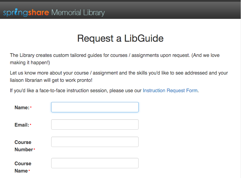 LibGuide Request Form