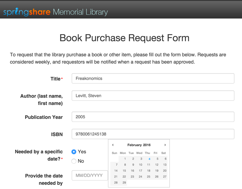 Book Purchase Request Form