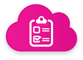 Pink cloud with a white clipboard icon