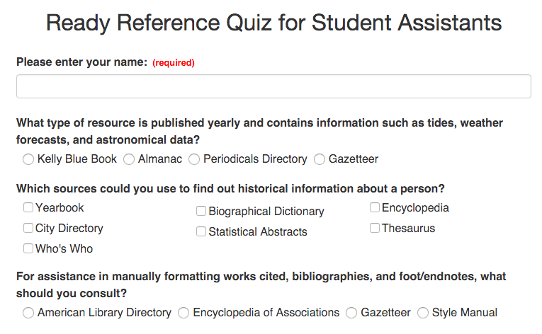Ready Reference Quiz