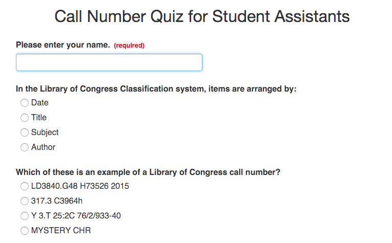Call Number Shelving Quiz