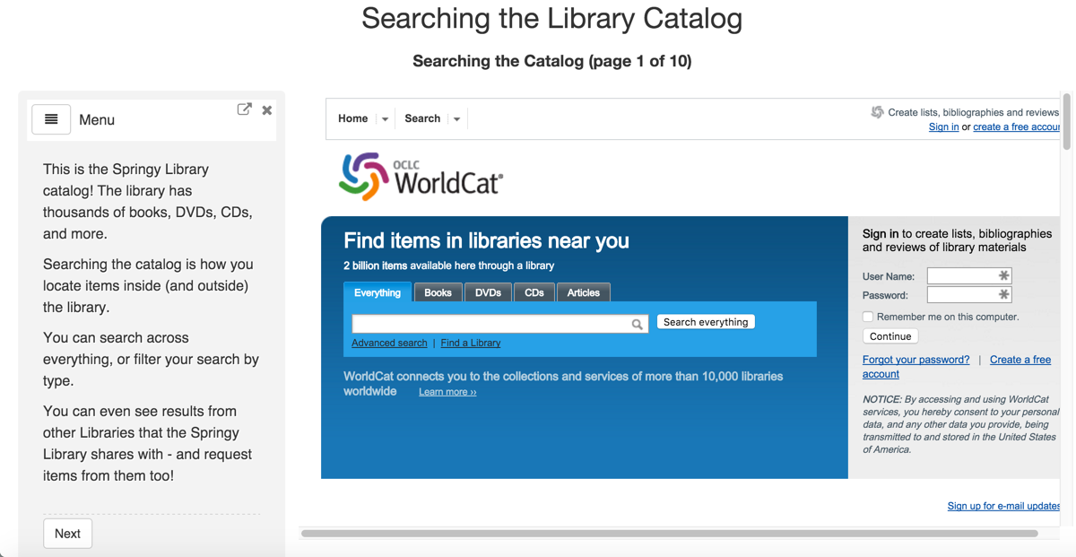 Searching the Catalog Tutorial