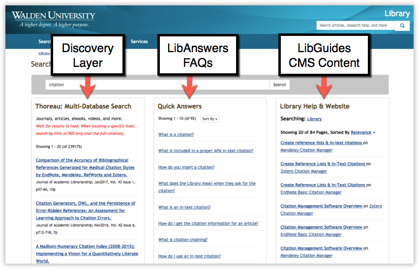 Walden University Library Unified Search