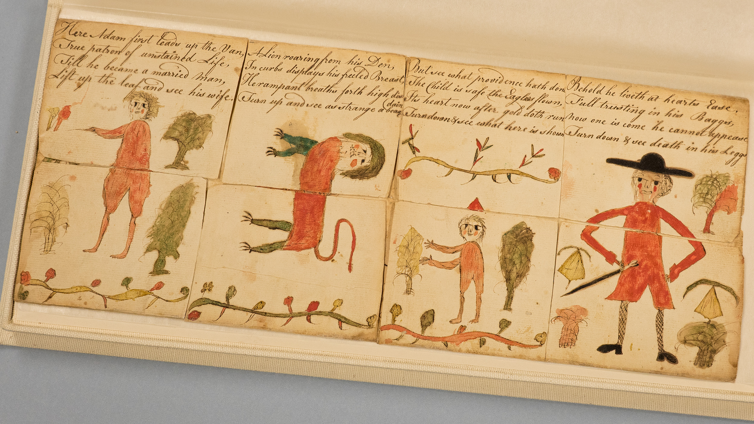 a manuscript with writing across the top of four panels, with drawings below of people and plants in mostly red, green and yellow