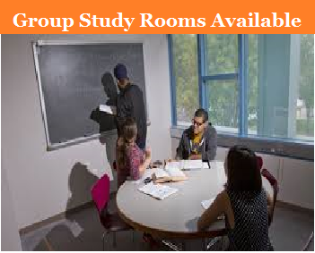 A picture of people studying in a group study room.