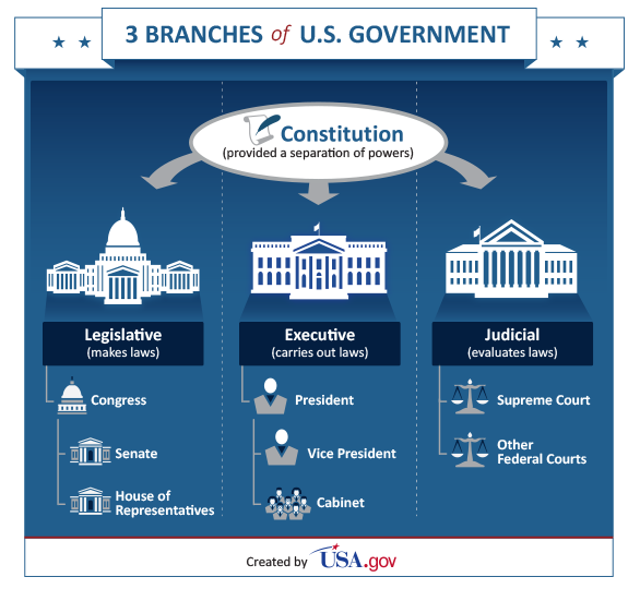 A chart depicting the 3 branches of the U.S. government and powers they have.