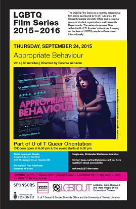 Poster for LGBTQ Film Series 2015-2016 and movie, Appropriate Behaviour