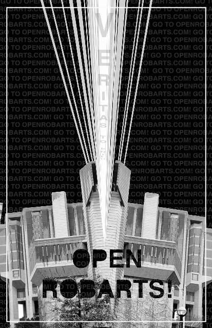 "Open Robarts image in black and white, words ""Veritas to Enter"" streaming from above Robarts tower"