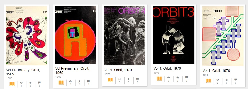 Row of Orbit magazine covers