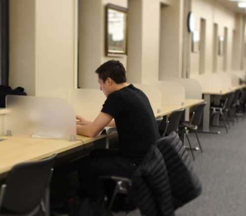 Study carrels at Kelly Library