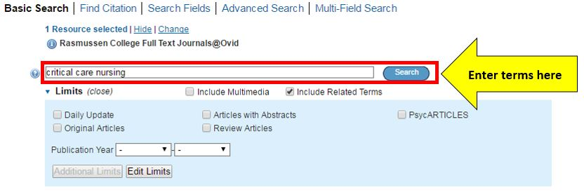 Enter brief keywords into the search box
