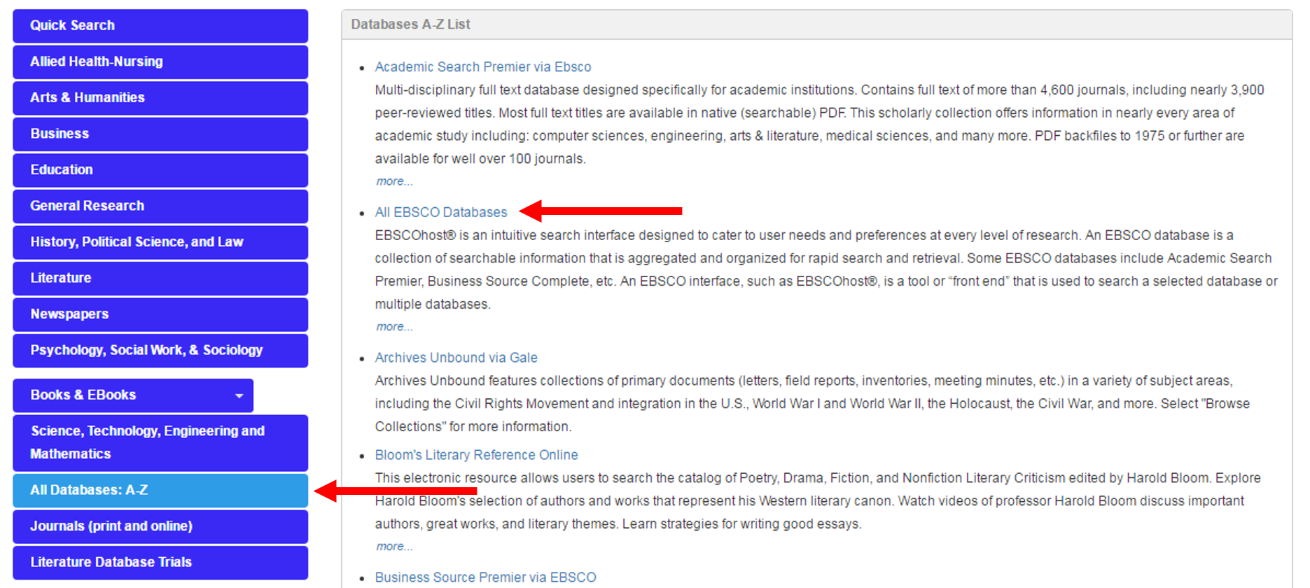 """Click """"All Databases: A-Z,"""" then """"All EBSCO Databases."""""""
