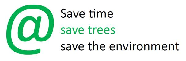 Save time, save trees, save the environment