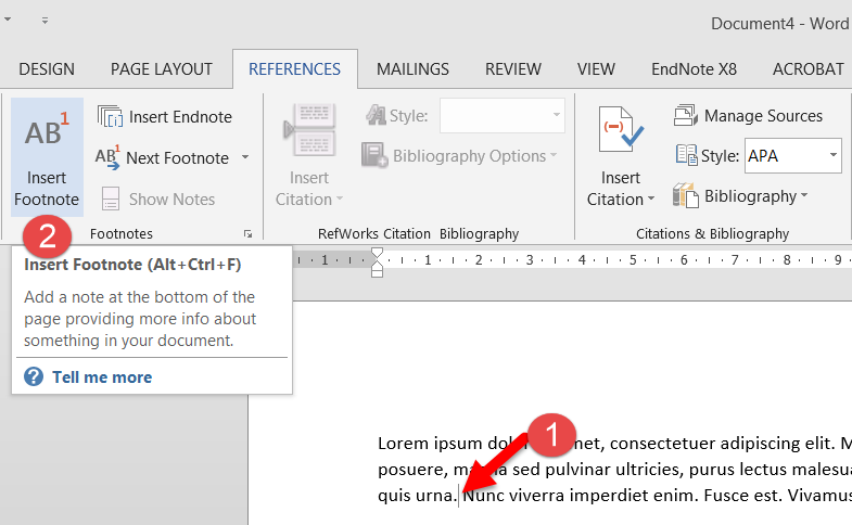 Screenshot showing Word References tab and Insert Footnote button and keyboard shortcut (Ctrl + Alt + F)